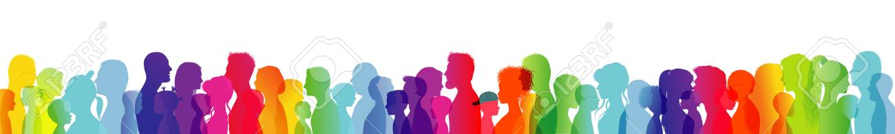 Dialogue between people of different ages and ethnic groups. Crowd talking. Rainbow colored profile silhouette. Many different people talking. Diversity between people. Multiple exposure - 118616395
