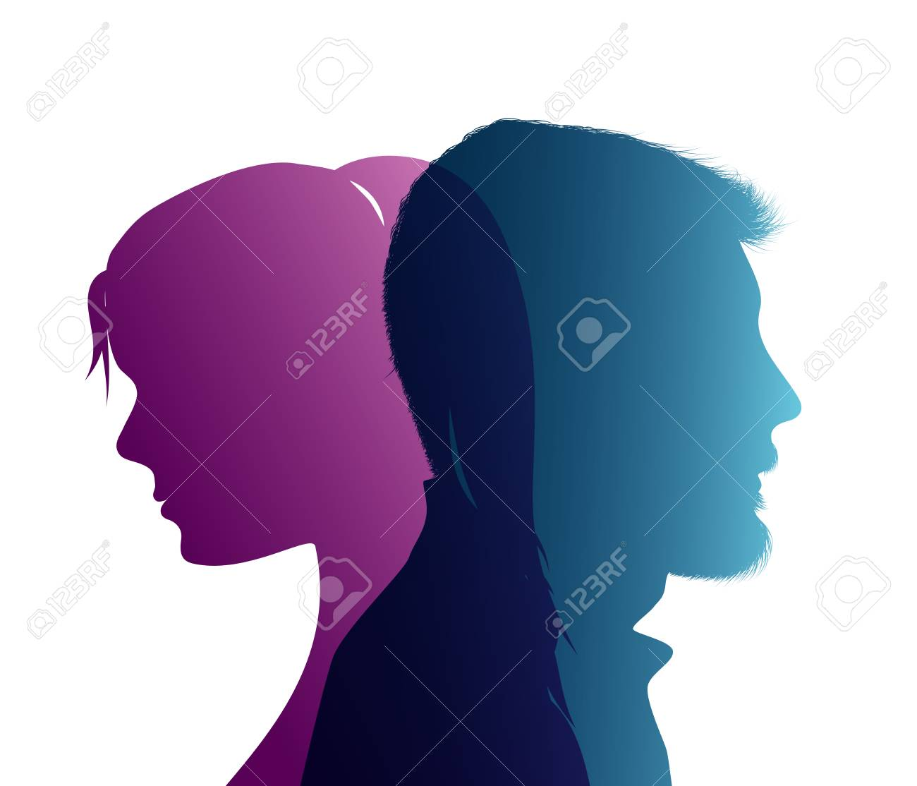 Isolated couple colored silhouette. Divorce concept. End of the wedding. Separation between groom and bride. Divorced man and woman - 119793057