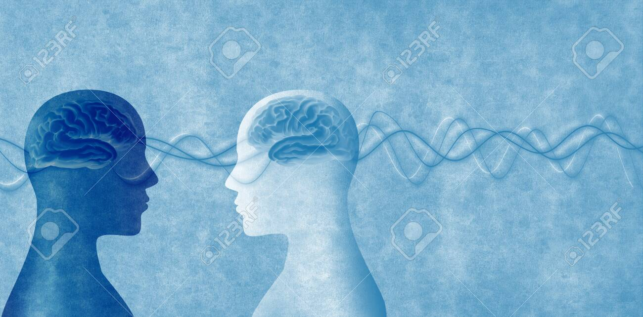 Training of people. Neuroscience development. Intelligence - cognition and education. 2 Human heads in silhouette profile. Concept of memory - neurology and psychology - 129553494