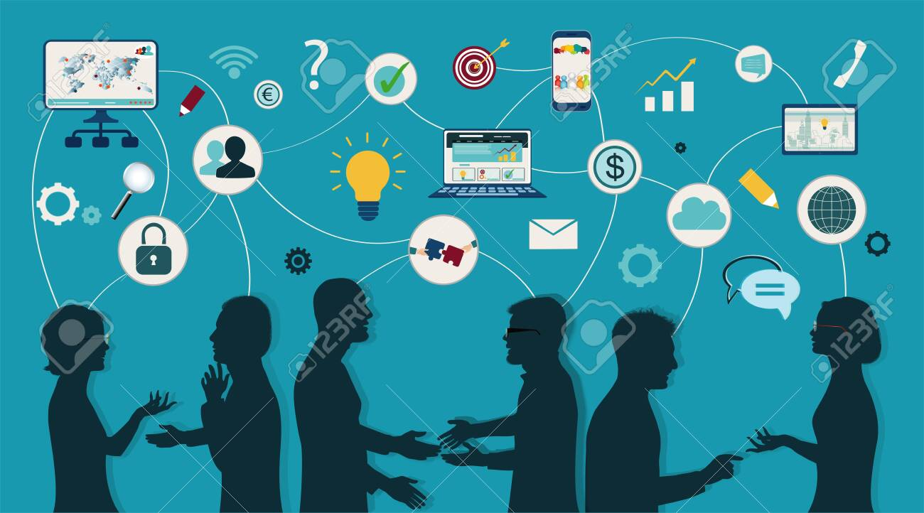Sharing ideas and technology for the future. Connection and exchange of ideas - data or questions. Communication and network between people. Upload and download data. Mind Map. Network teamwork - 133178100