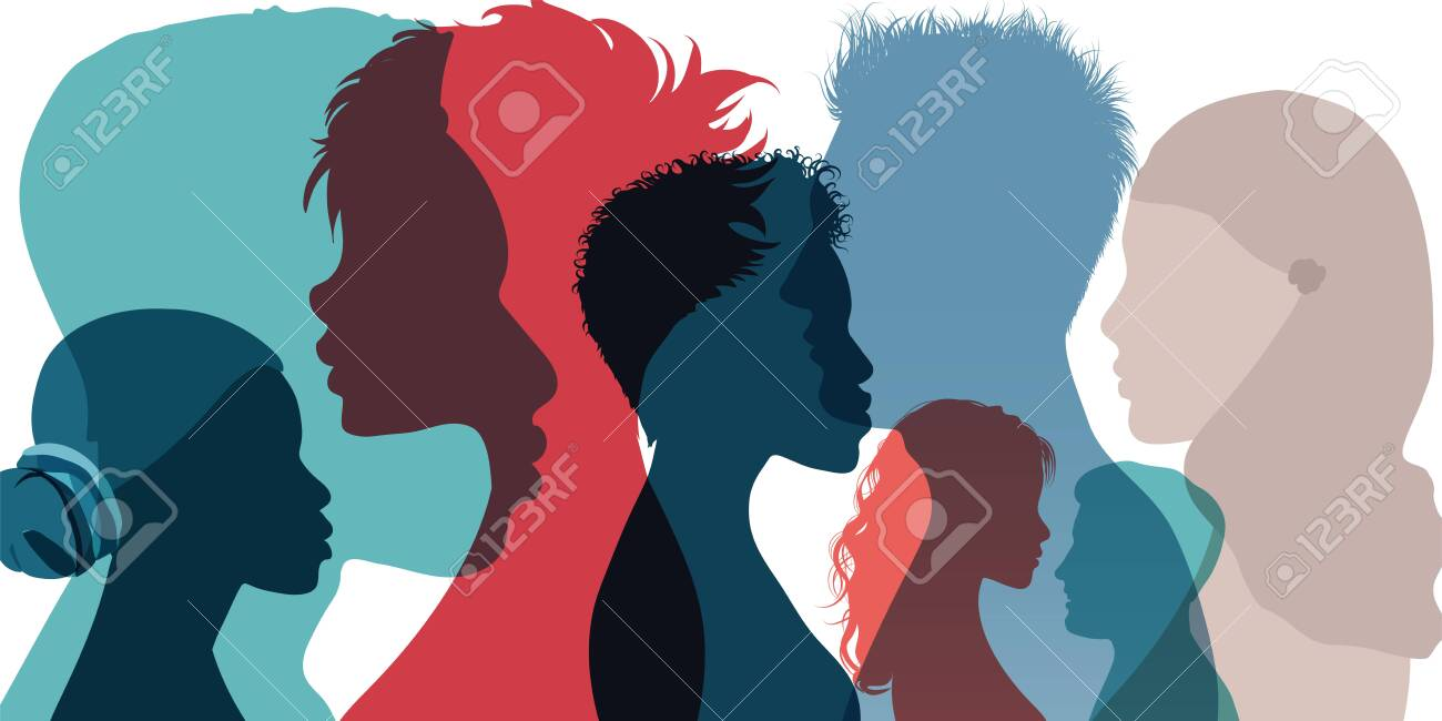 Racial equality and anti-racism. Silhouette profile group of men women and girl of diverse culture. Diversity multi-ethnic and multiracial people. Multicultural society. Friendship - 156164634
