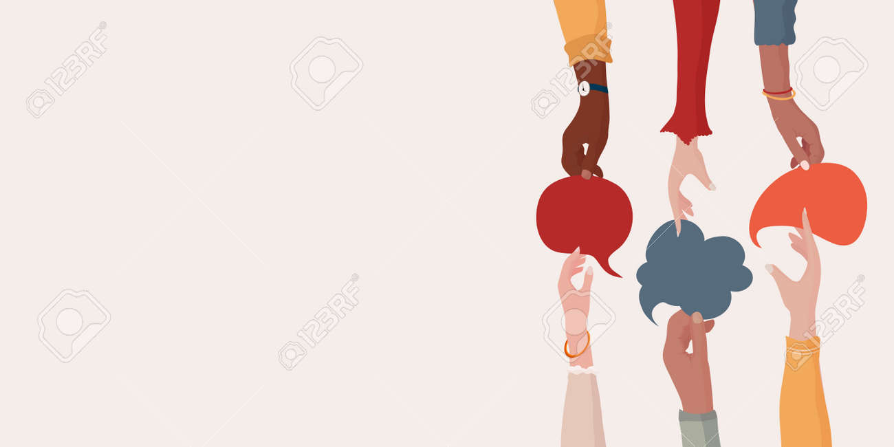 Agreement or affair between a group of colleagues or collaborators.Diversity People who exchange information.Arms and hands holding speech bubble.Concept of sharing and exchange. Banner - 167413658