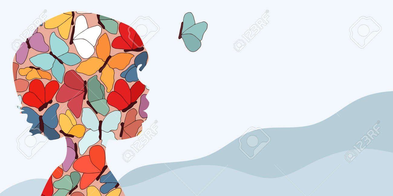 Autism syndrome concept. Puzzle of butterflies that forms a child's head in profile. Learning support and education. Neurological Disease. Mind and brain.Conceptual. Banner copy space - 167488201