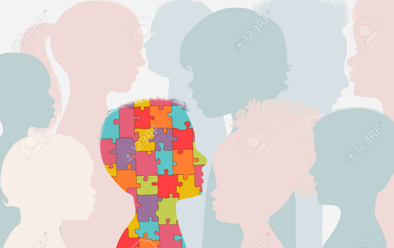 Autism syndrome concept. Jigsaw Puzzle that forms the head of a child s profile With other children background. Learning support and education. Neurological Disease. Mind and brain - 167527972