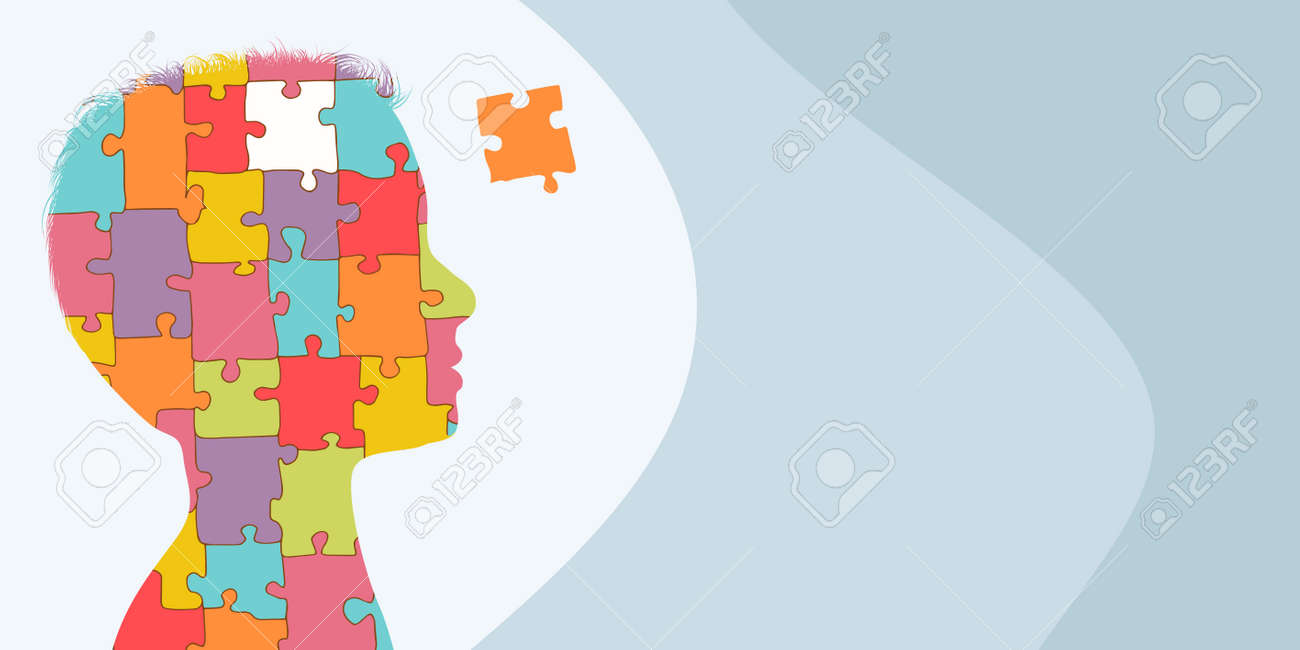 Banner copy space. Autism syndrome concept. Jigsaw Puzzle that forms the head of a child s profile. Learning support and education. Neurological Disease. Mind and brain. Conceptual - 167527973