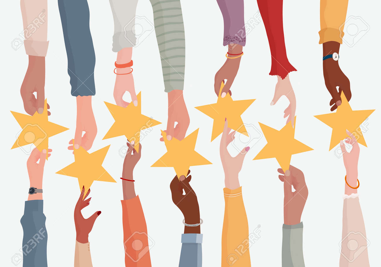 Customer feedback concept. Rating concept. Hand giving a star to another hand.Customer service.Opinion and evaluation of the consumer or customer on quality and assistance.Rating.Survey - 167806019