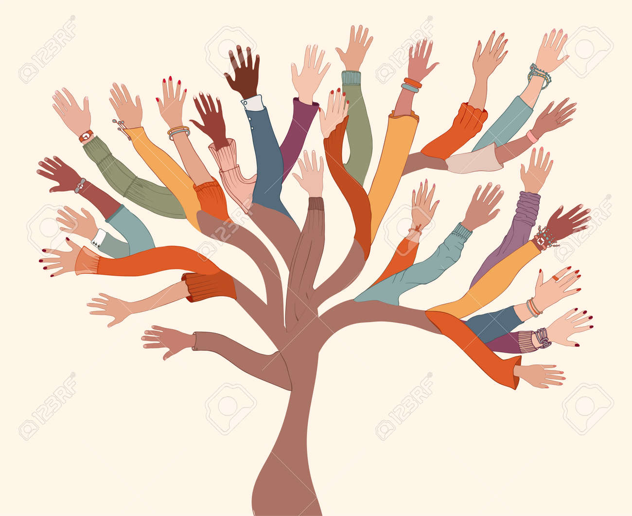 Group of hands of diverse and multi-ethnic people.Tree with branches made of human hands and arms.Community concept - racial equality - cooperation - friendship.Diversity people teamwork - 167897528