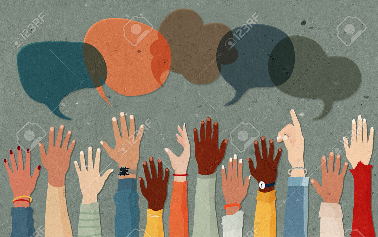 Anonymous arms and raised hands of multiethnic multicultural group people.Speech bubble.Crowd diversity people.Man and women of diverse races.Communication. Racial equality. Male female - 167897530