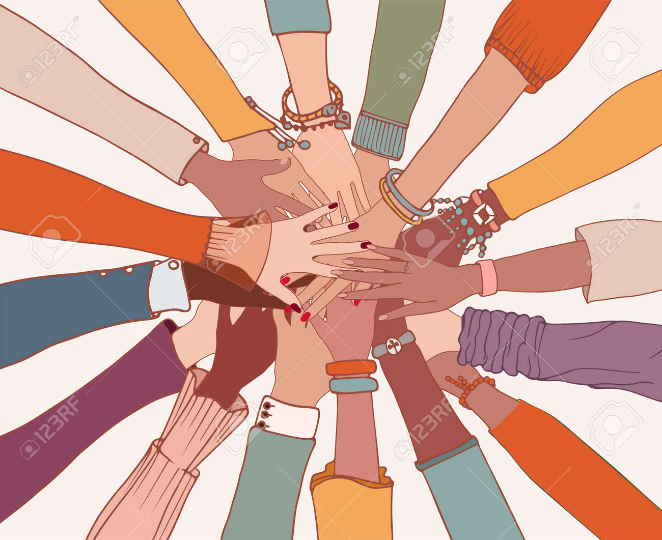 Group of arms and hands on top of each other in a circle of diverse multi-ethnic people.People of different cultures.Cooperation.Agreement between colleagues.Diversity people.Community - 167897532