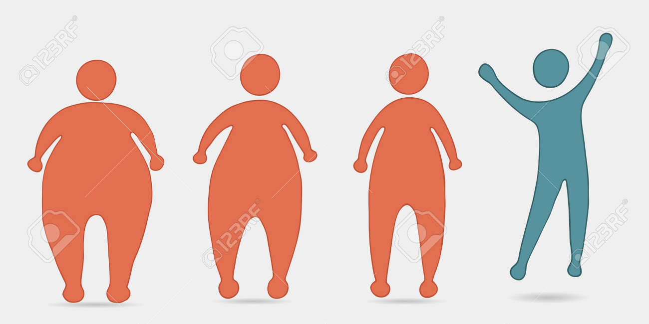 Concept of overweight and diet. Before and after silhouette sequence. How to lose weight. Progress in weight loss.From fat people to slim and fit people.Fitness for weight loss. Health - 168103209