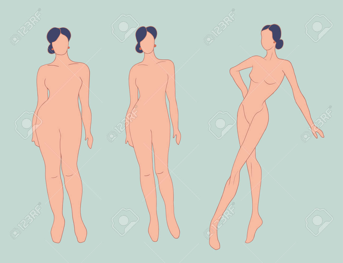 Concept of overweight and diet. Before and after. Silhouette sequence of woman. Progress in weight loss. From fat people to slim and fit people. Fitness for weight loss. Health - 168103210