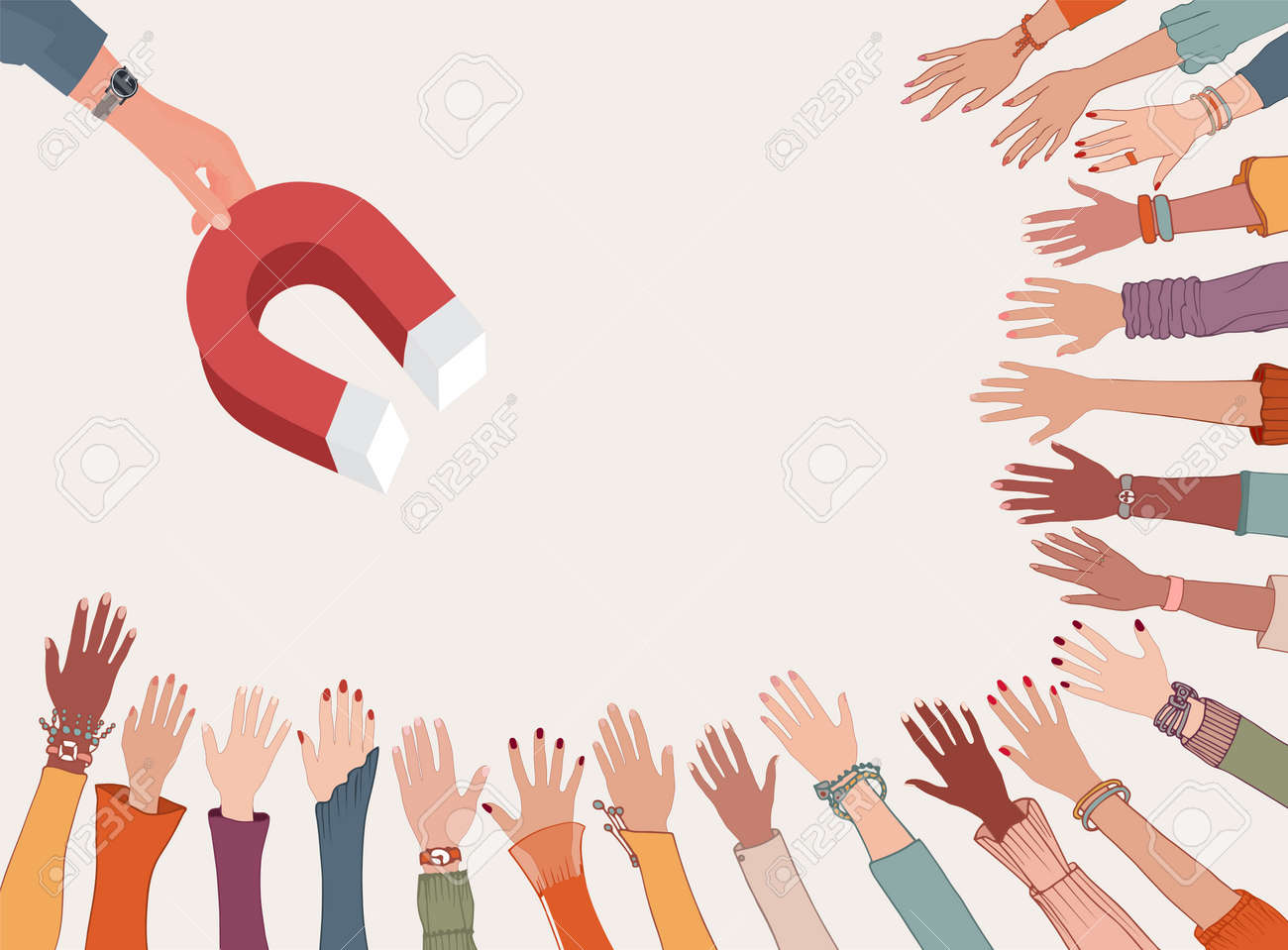 Professional influencer or leader concept. Ability to persuade and motivate. Leadership. Training. Hand holding a magnet which attracts many hands diverse people. Followers - 168150043