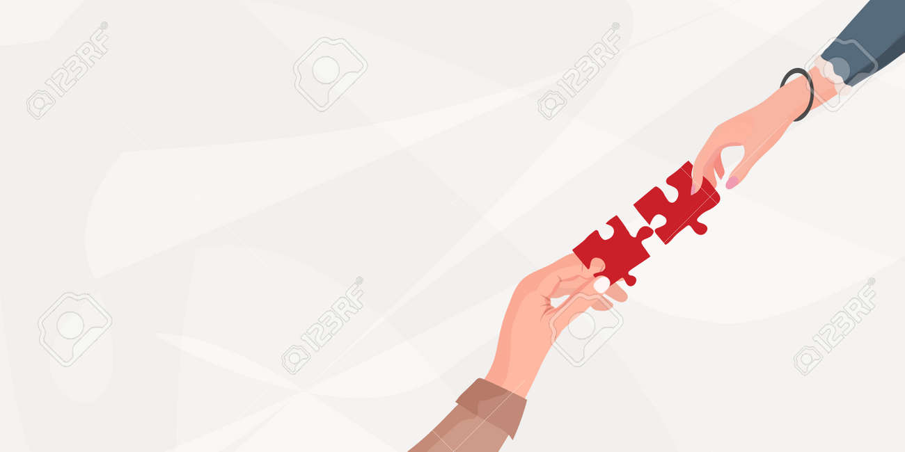 Match.Challenge.Arms of hands of people or colleagues of diverse culture holding jigsaw puzzle pieces that connect.Problem solving.Teamwork.Strategy. Missing link. Banner.Copy space - 168453796