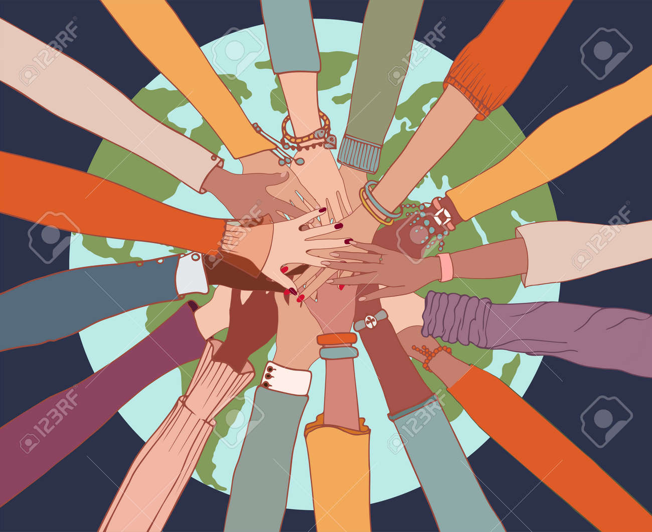 People diversity. Arms and hands on top of each other on the globe.People of diverse race culture ethnicity and country.Integration.Coexistence.Multicultural society. Agreement.Community - 168633982