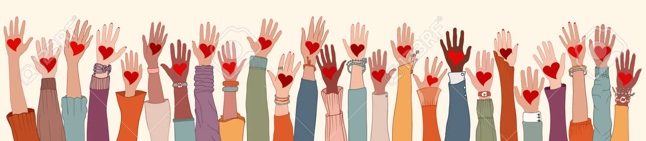 Large Group of diverse people with heart in hand. Arms and hands raised. Charity donation and volunteer work. Support and assistance. People diversity. Multicultural community. Teamwork - 168734267