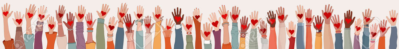 Large Group of diverse people with heart in hand. Arms and hands raised. Charity donation and volunteer work. People diversity. Support and assistance. Multicultural community. Teamwork - 168734268