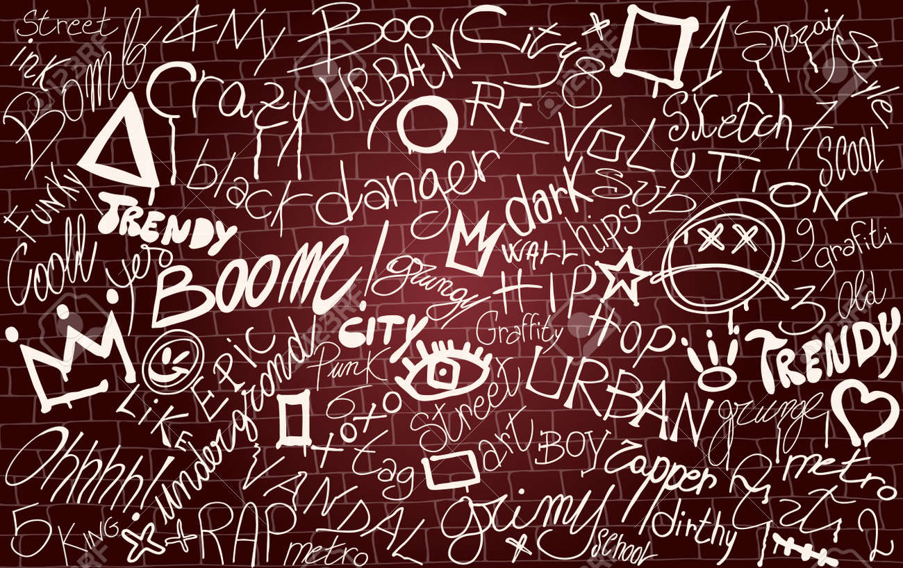 Wall with graffiti symbol writing spray-ink-tag-splash-scribble. Street art. Modern hand draw grafiti style. Dirty artistic design elements and words. Underground. Vector illustration - 168796605