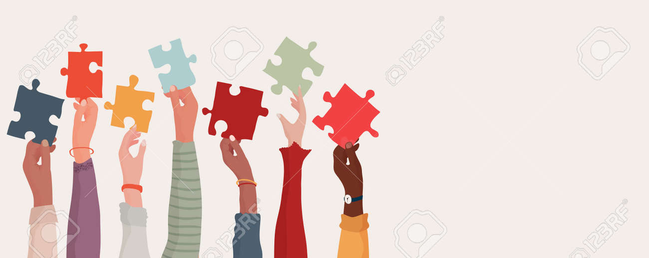 Group of multi-ethnic business people with raised arms holding a piece of jigsaw. Colleagues of different races and cultures. Cooperate and collaborate. Concept of teamwork and success - 168826053