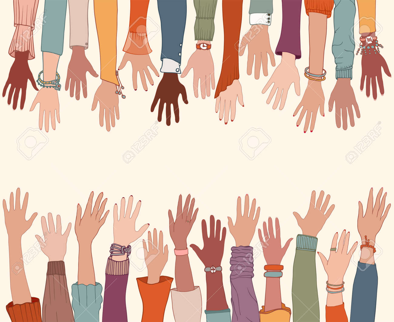 Group of raised arms and hands starting from below and meeting a group of raised hands starting from above. Charity donation and volunteer work. Copy space - 169064606
