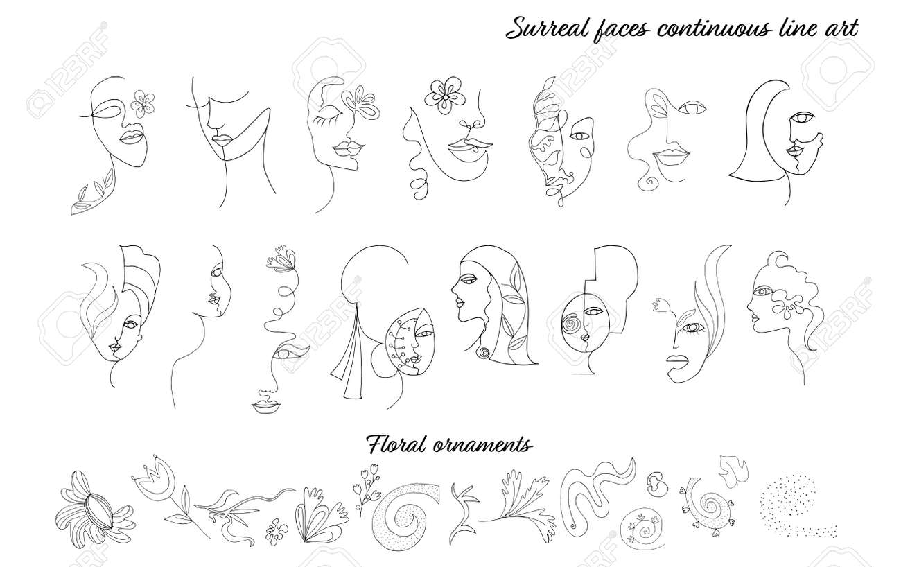 Abstract illustration set of female women faces in modern minimalist continuous line art style.Drawing. Beauty and fashion concept.Isolated surreal faces and portraits.Collection.Hand draw - 169503180