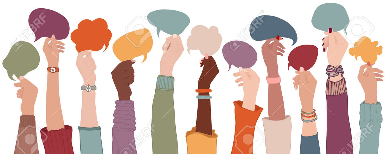 Arms and hands holding speech bubble. Agreement or affair between a group of multiethnic colleagues or collaborators. Diversity People who sharing information. Co-workers. Community - 169503182