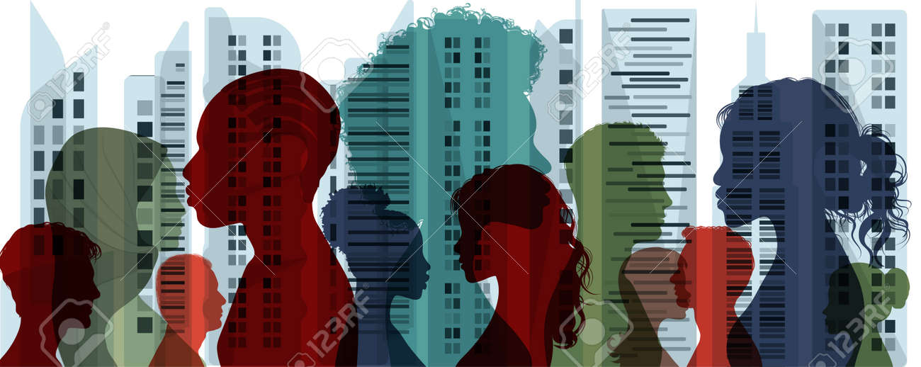 Diverse multiethnic and multicultural people.Concept of society and diversity.Integration coexistence and harmony of peoples.Population of diverse culture.City and Buildings background - 169628219