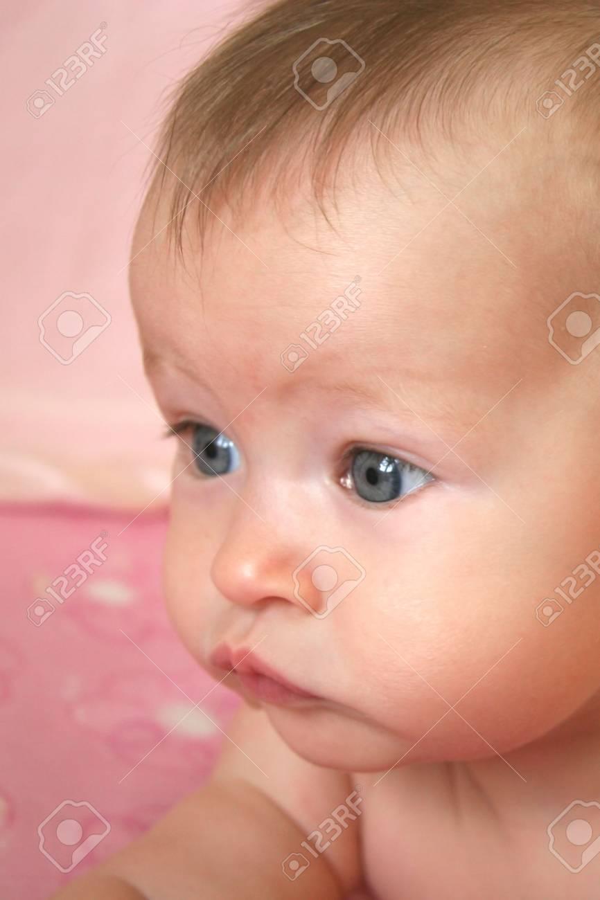 Little Baby Girl closeup on face Stock Photo - 525752