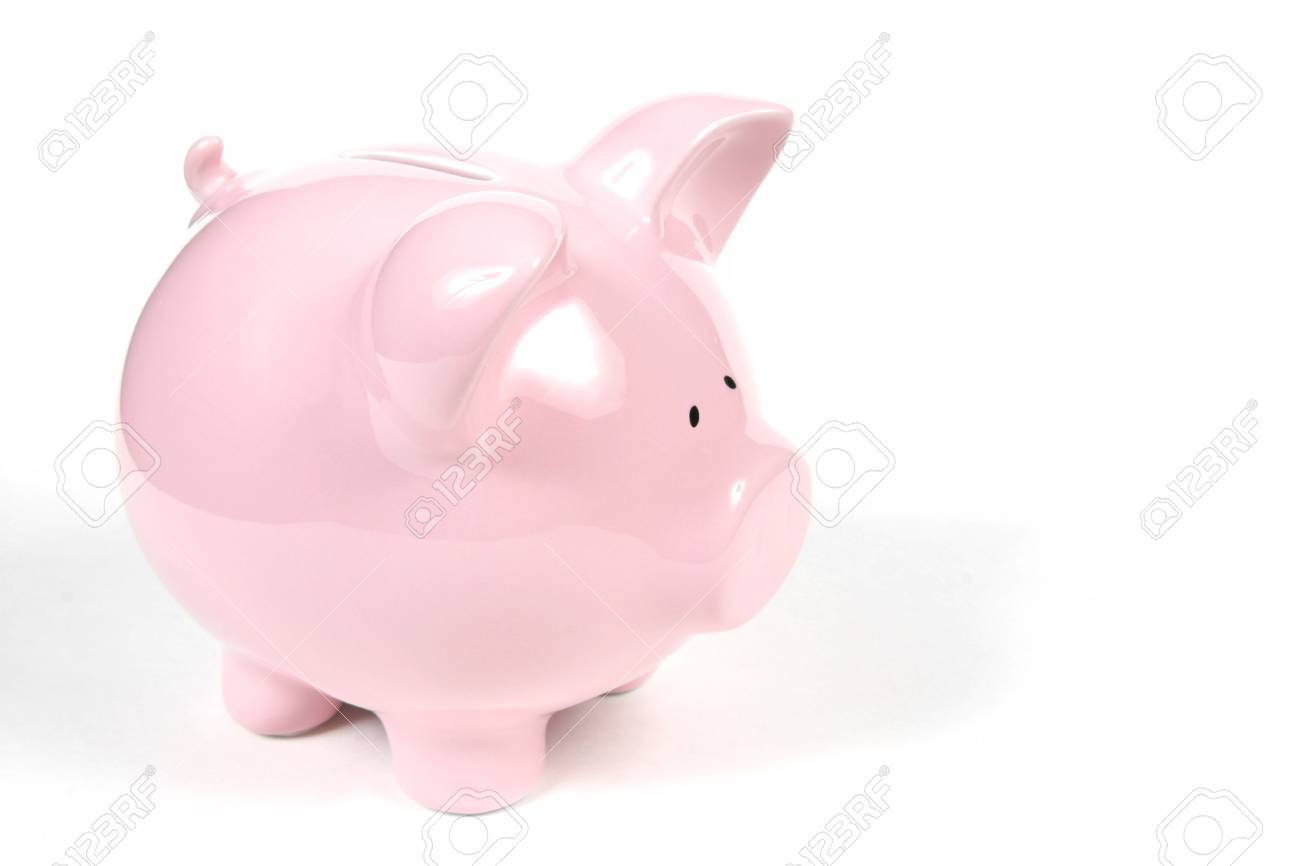 Pink Piggy Bank on isoalted on white background - 685714