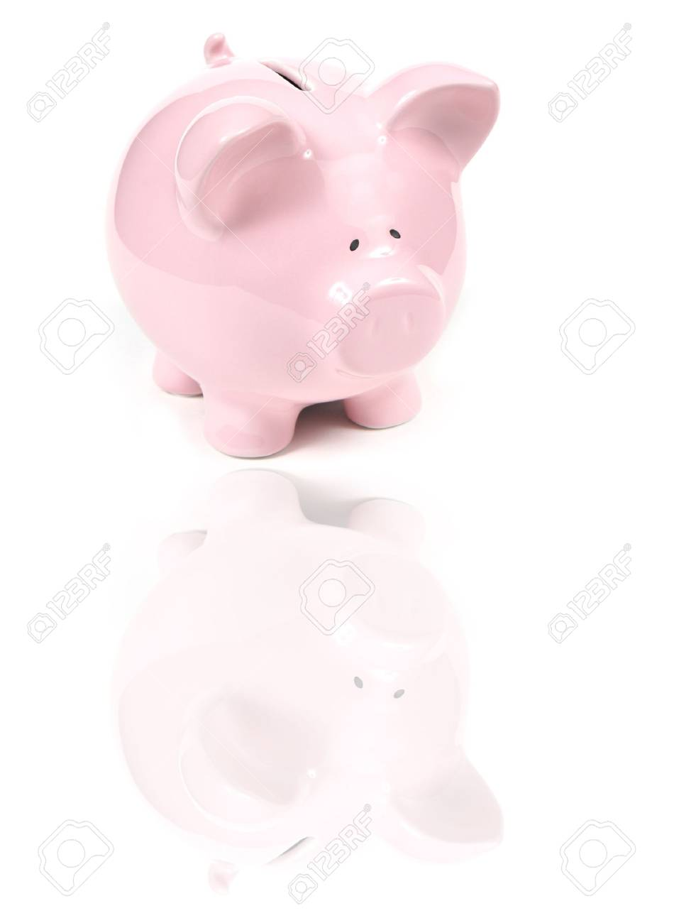 Pink Piggy Bank on isoalted on white background with reflexion Stock Photo - 785868