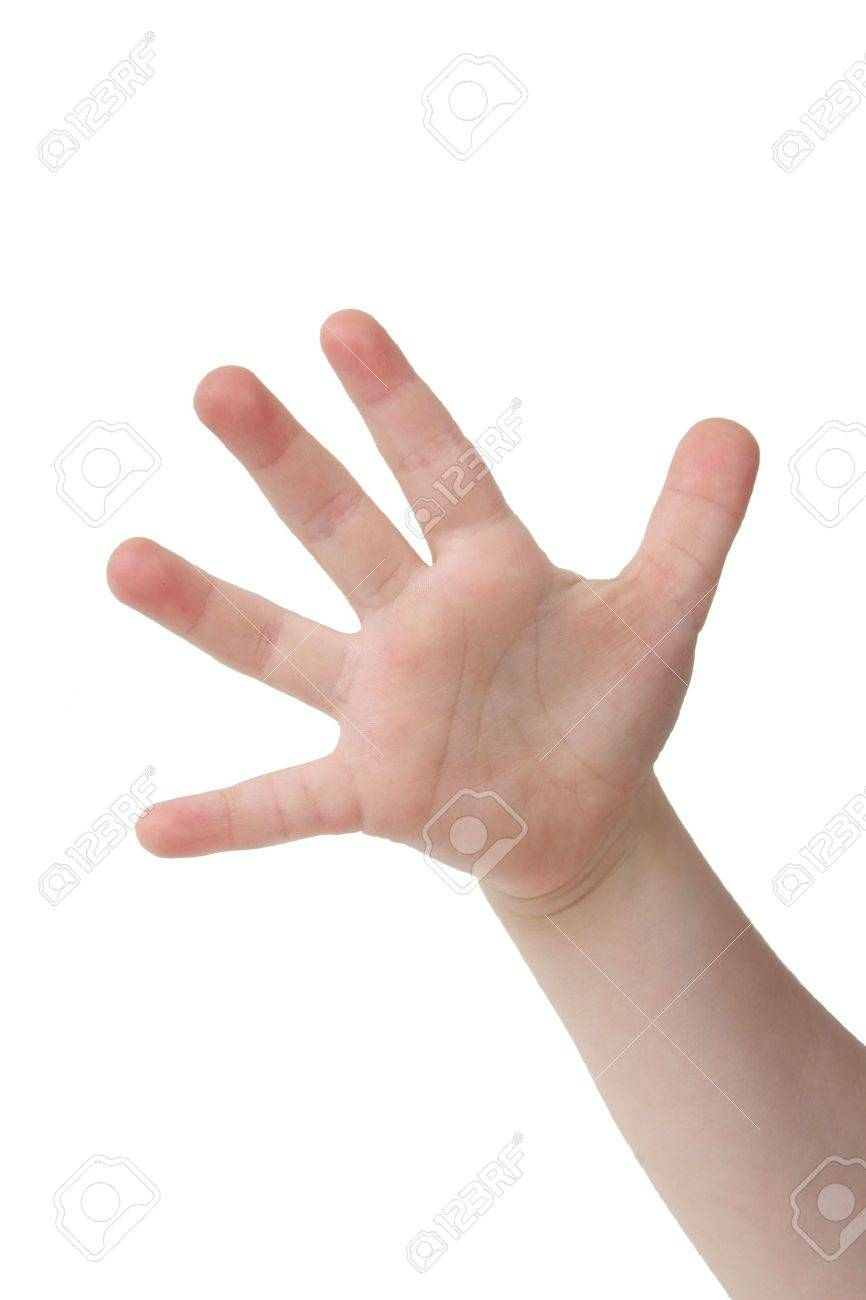 Little child hand with Five finger on white background - 785884