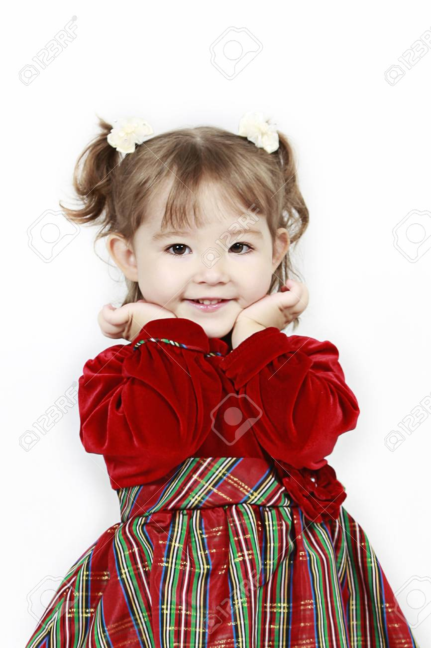 Adorable little girl isolated on white background Stock Photo - 7111799