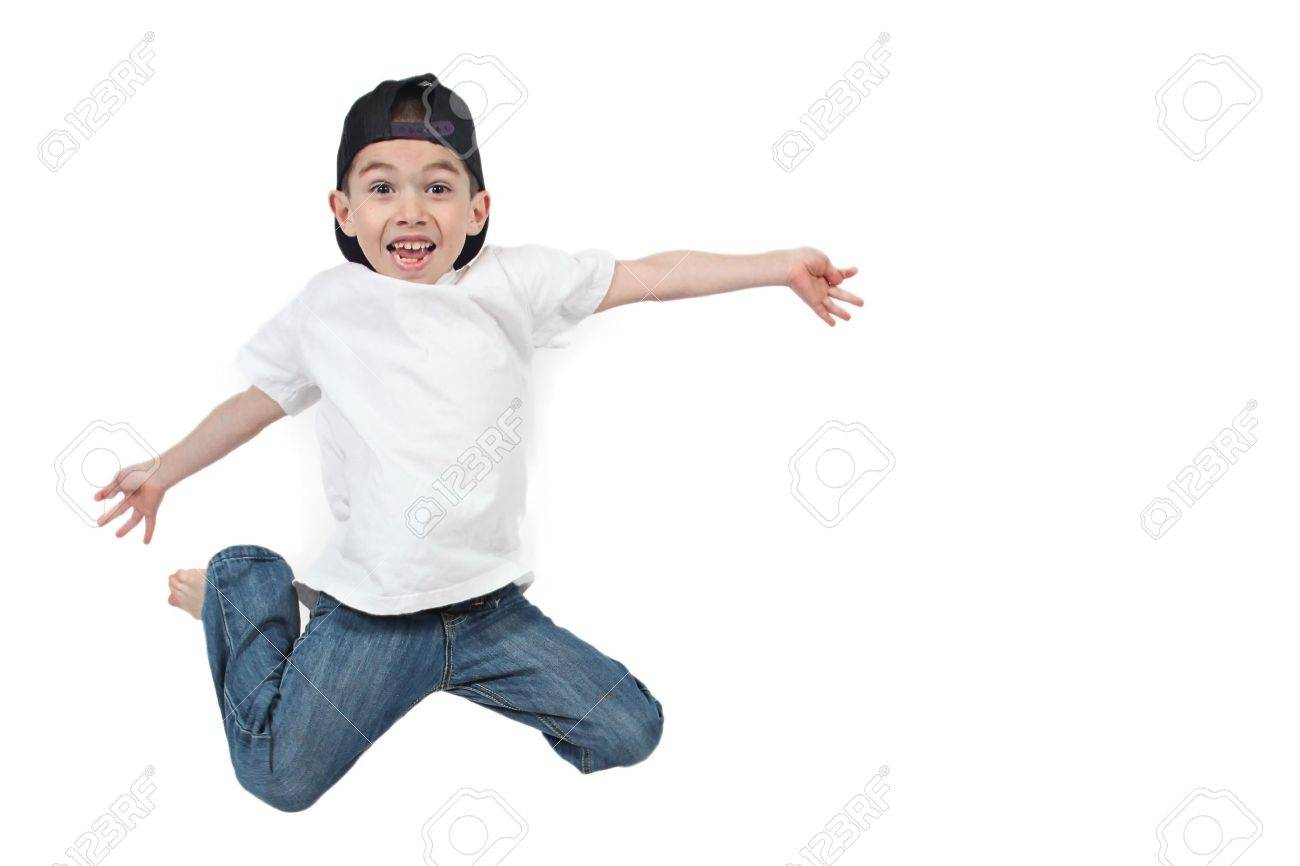 Little boy jumping on isolated white background - 7111674