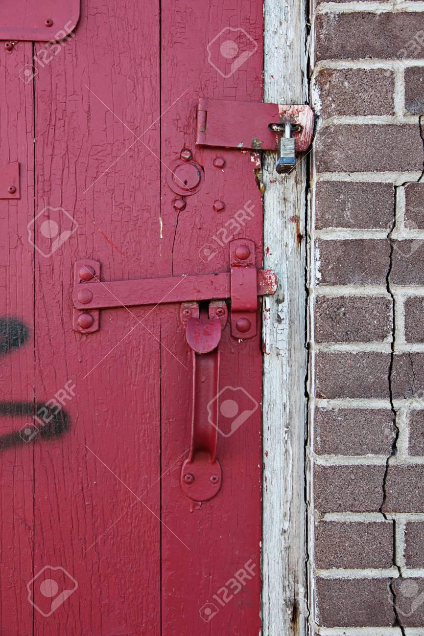 Old Red wooden door in old building Stock Photo - 7112002