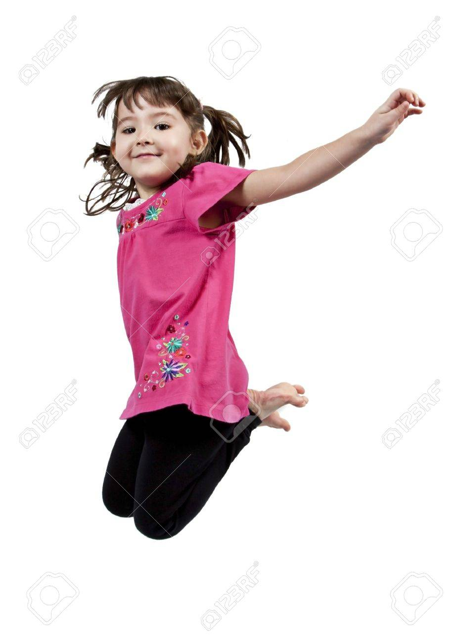 Adorable and happy little girl jumping in air. isolated on white background - 8951878