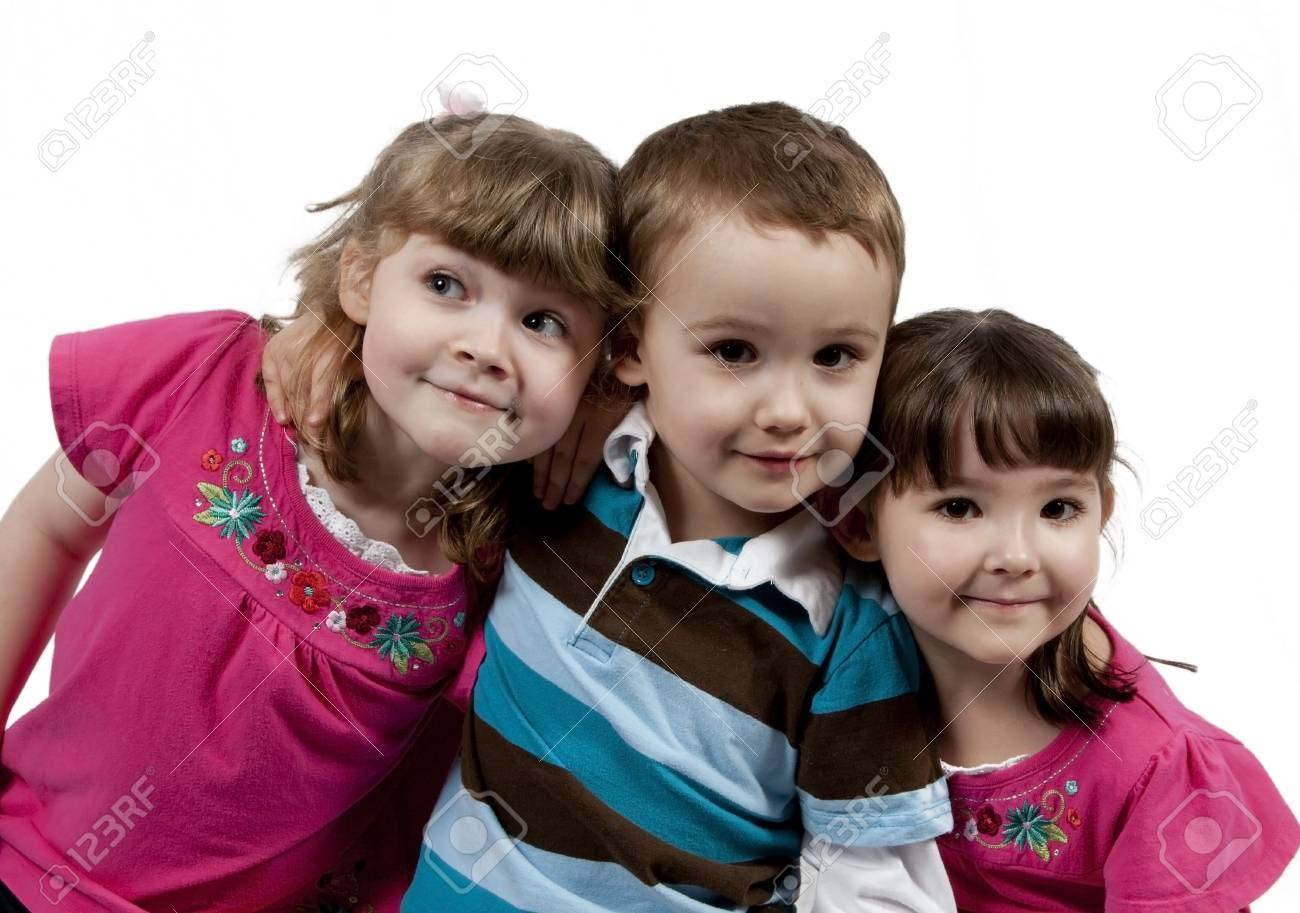 Three Adorable little kids isolated on white background - 8951900