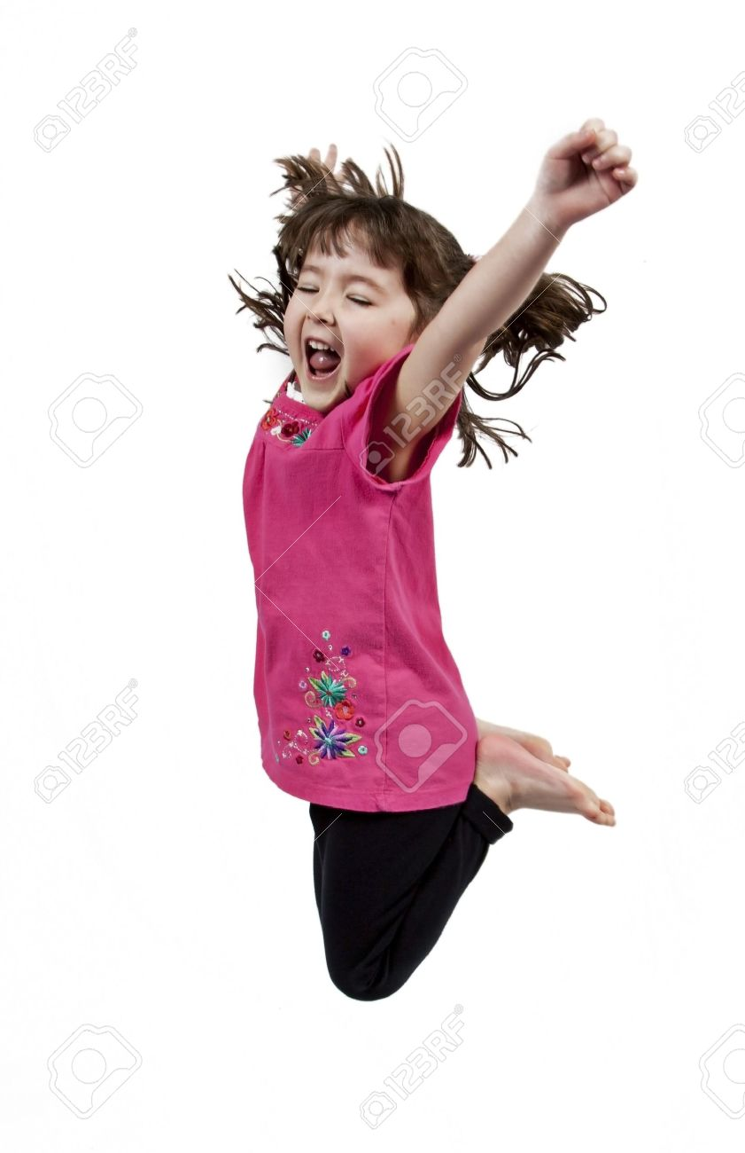 Adorable and happy little girl jumping in air. isolated on white background - 8951879