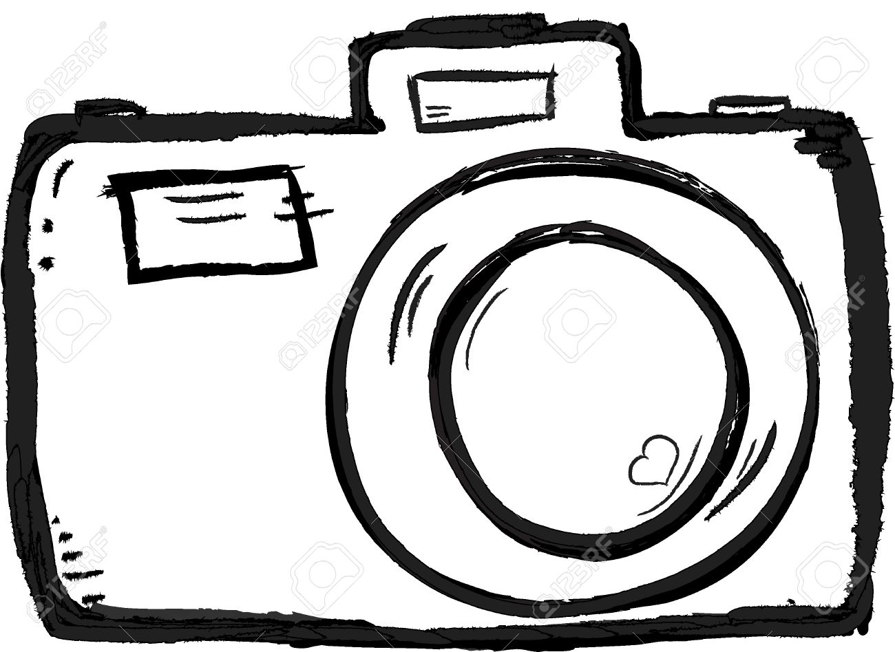 Scribble Hand Drawn Camera Icon Vector With Heart Stock Photo