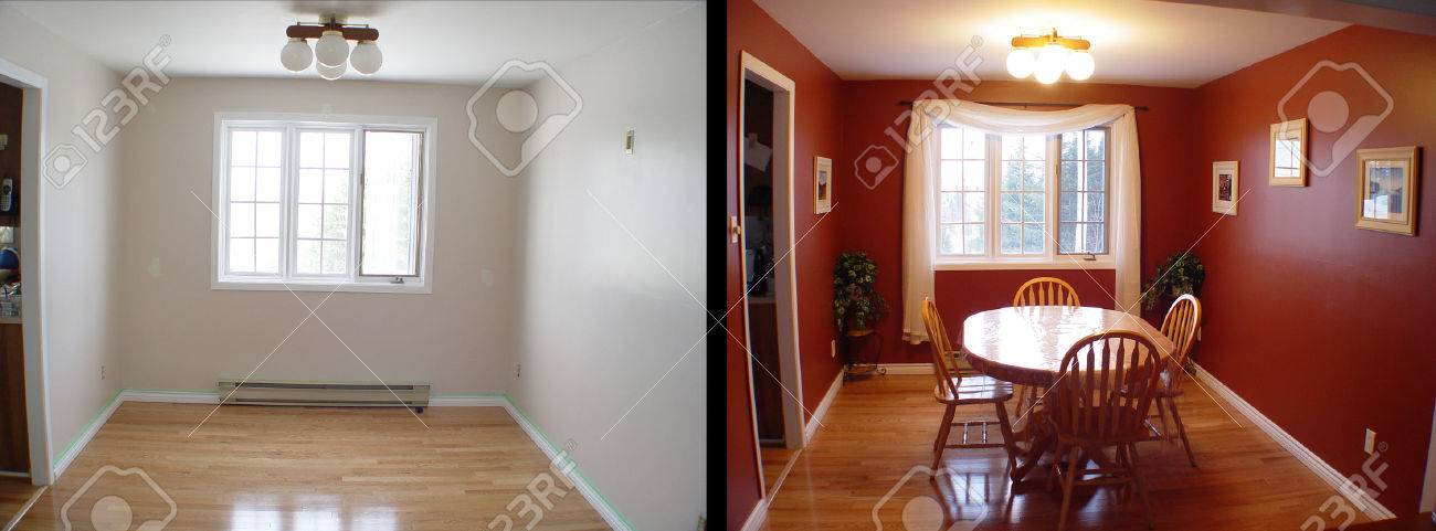 before and after of dining room of house - 34119525