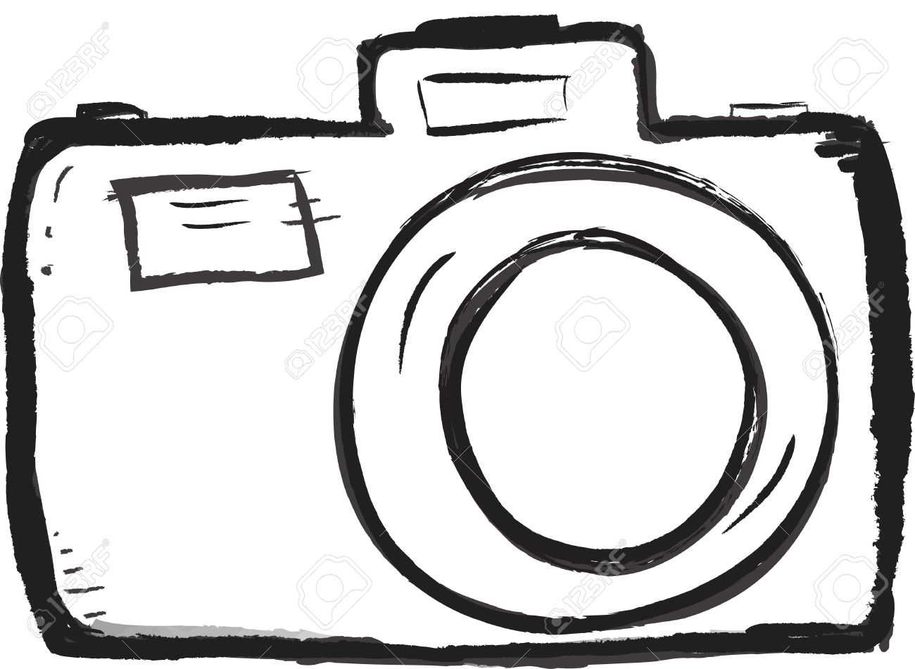 Scribble Hand Drawn Camera Icon Vector With Heart Stock Photo ...