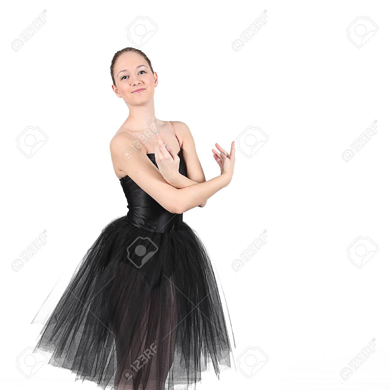 Immagini Stock Ballerina Di Danza In Studio Con Sfondo Bianco