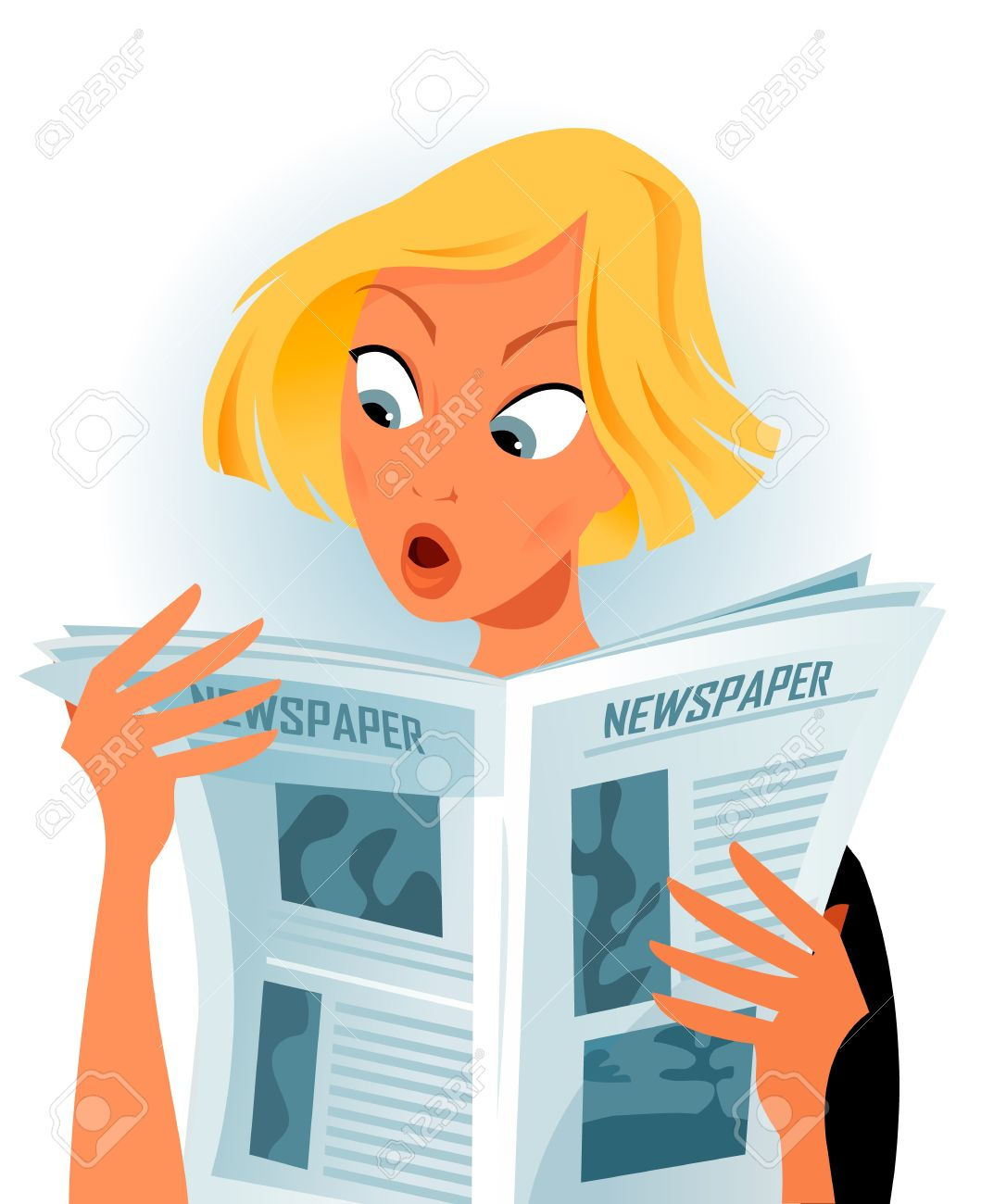 woman reading some shocking news royalty free cliparts, vectors, and
