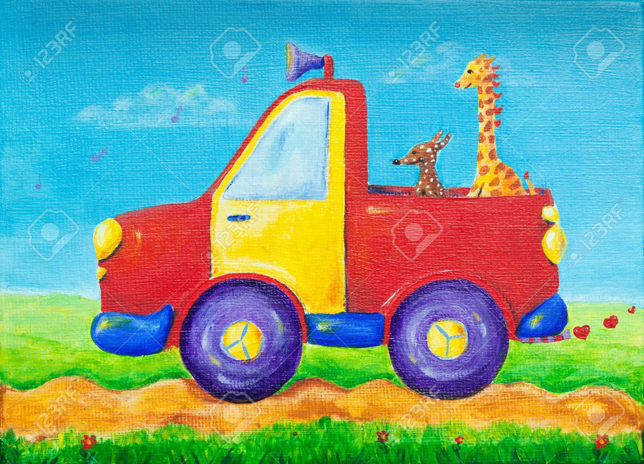 Colorful And Creative Childrens Painting Of A Dog And A Giraffe