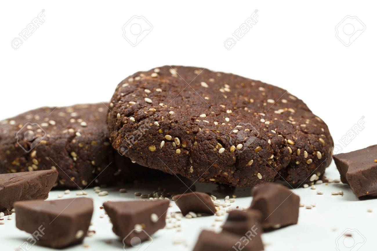 Close-up Of Healthy Dark Chocolate And Chia Seed Cookies On White ...