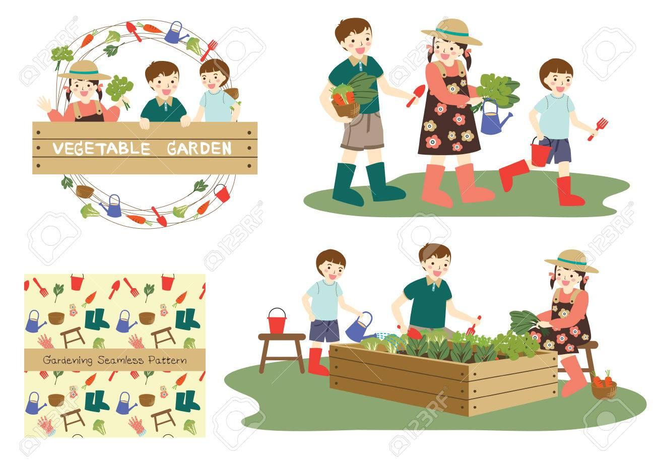 Three Cute Young Asian Children Boys And Girl Smiling Happily Walking With Vegetables Gardening Tools