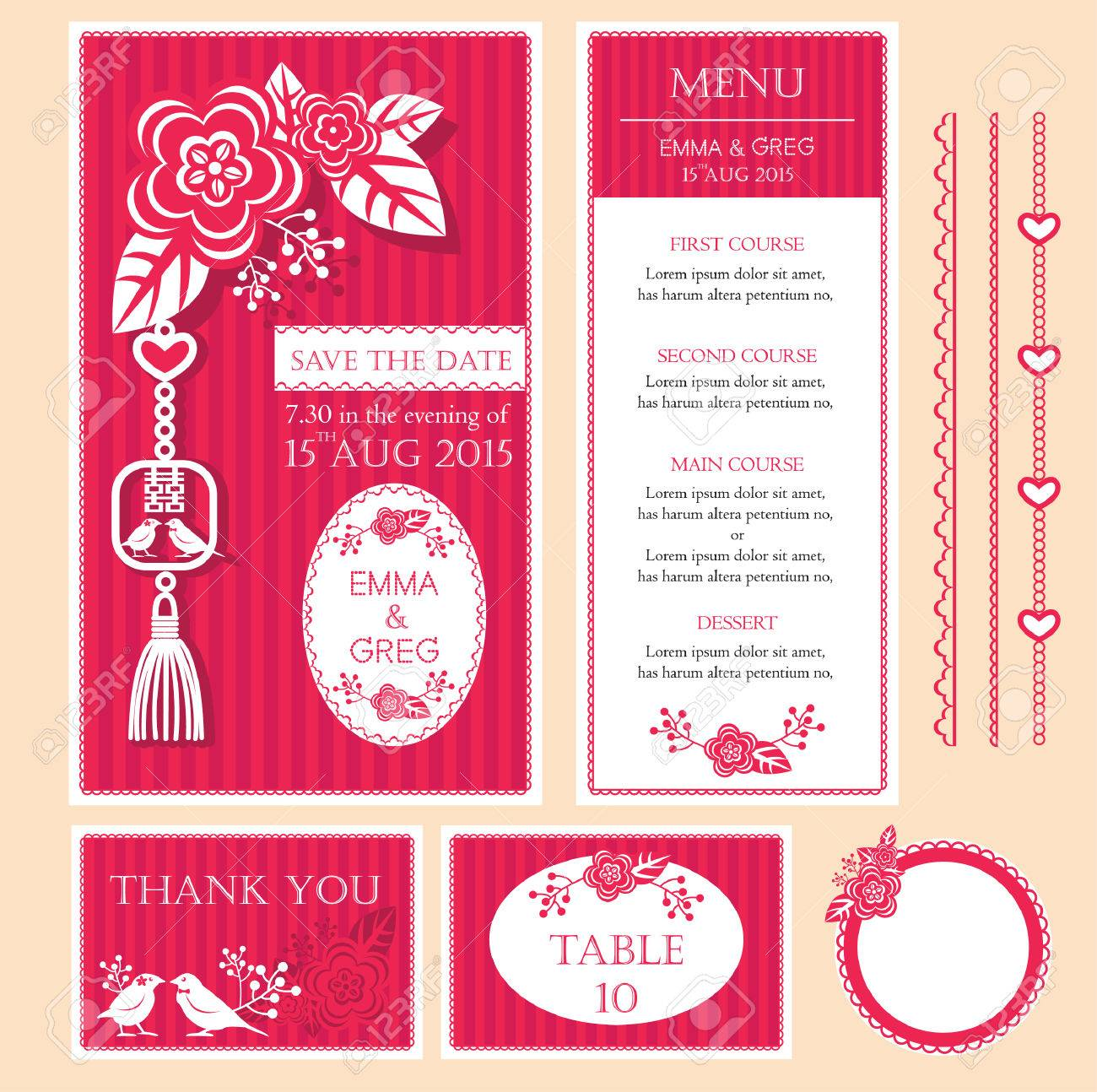 Wedding invitation card table number card thank you card and vector wedding invitation card table number card thank you card and menu in chinese paper cut style with pink floral ornaments stopboris Gallery