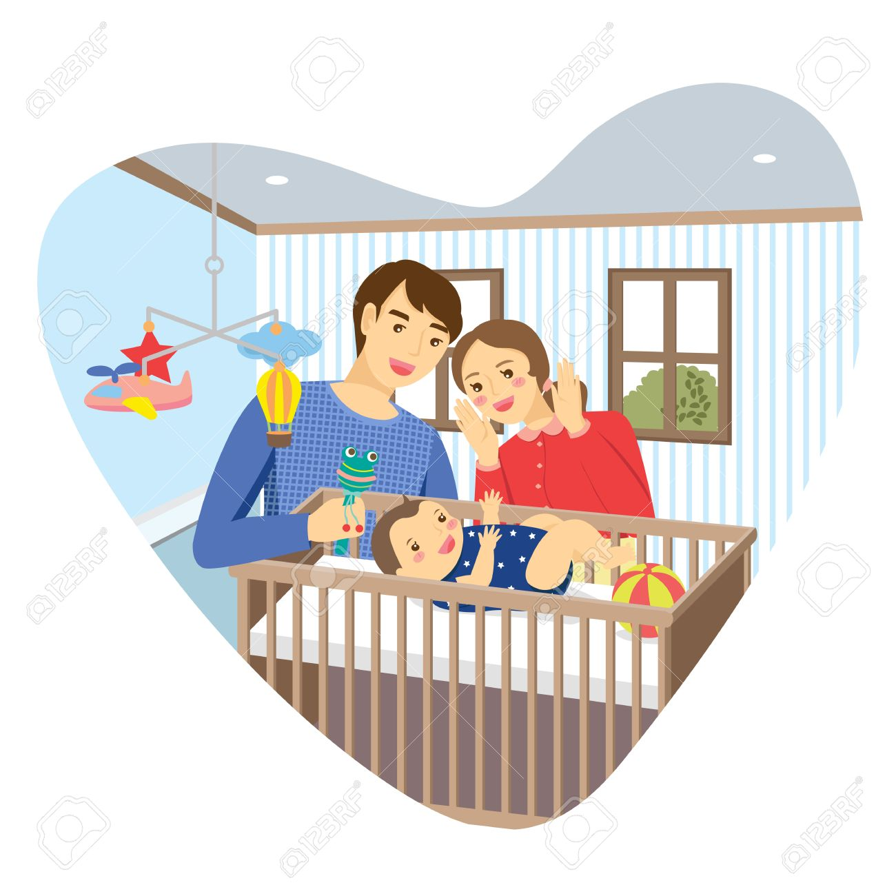 Family with baby in bedroom with heart shape frame. Mommy playing peekaboo with baby boy lying in a cot. Daddy holding baby rattle. - 53826069