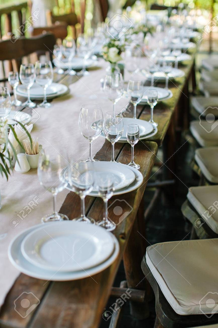 glasses table setting. Glasses On The Festive Table Setting. Wedding Decor. Setting In Classic Style