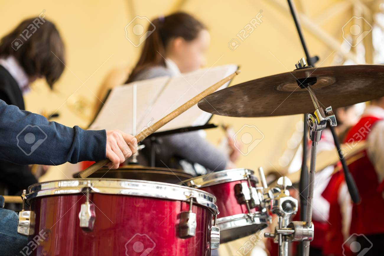 Jazz Band Music Performance Concept Orchestra Drum Kit During
