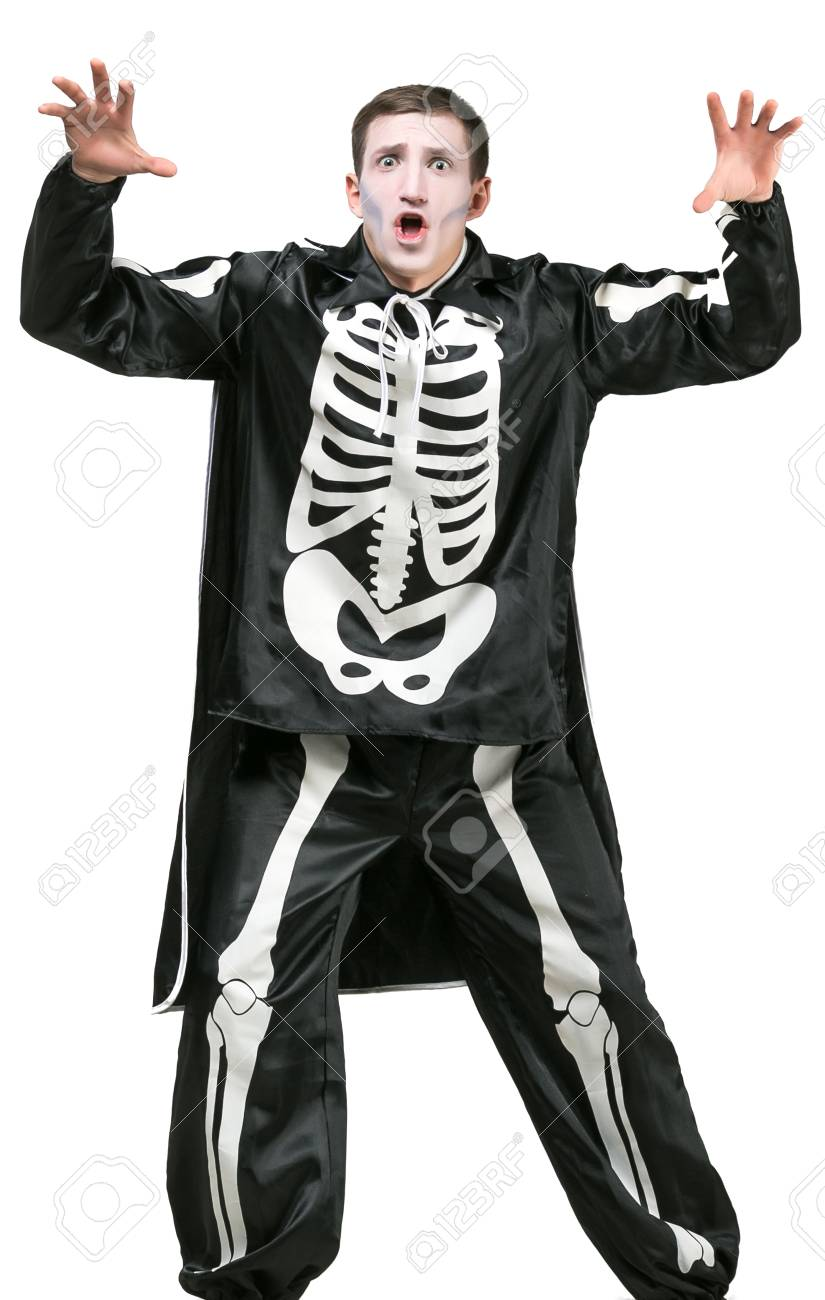 halloween costume party amusement concept. isolated young tall man dressed in black carnival  sc 1 st  123RF.com : halloween costumes for tall people  - Germanpascual.Com
