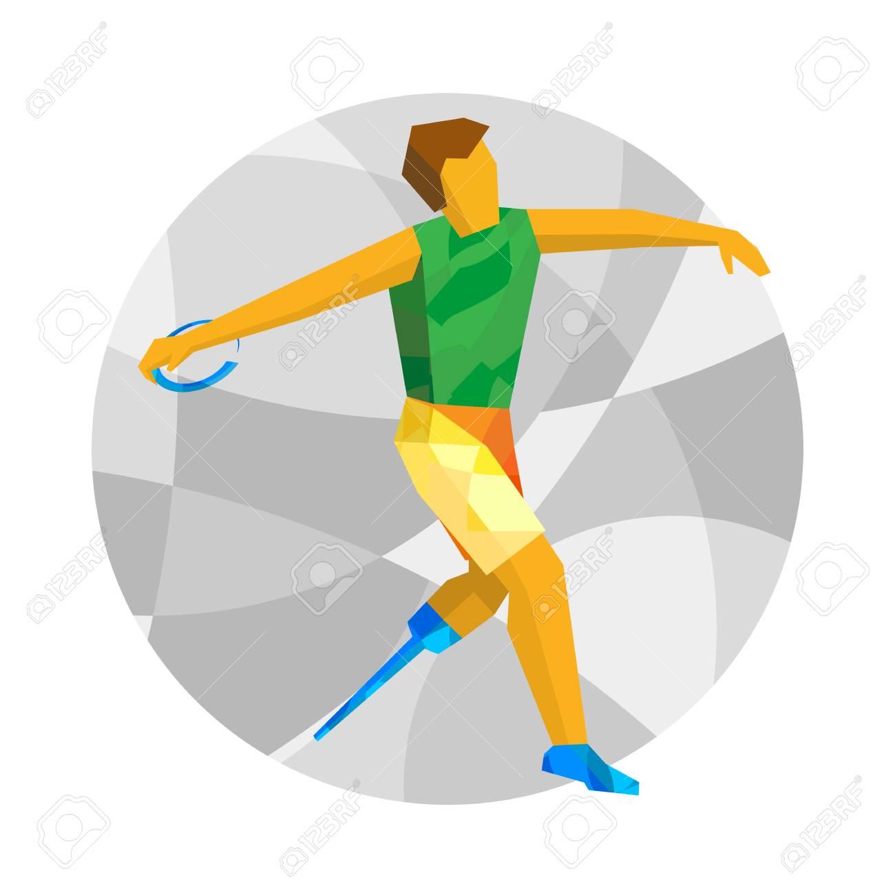 Körperbehinderter Sportler Der Diskus Wirft Leichtathletik Für